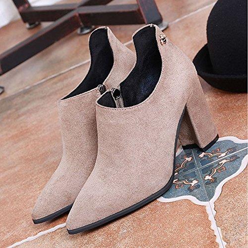 mujer Confort caqui botas PU invierno exterior negro para Khaki de Zapatos gIwq5CxZ5