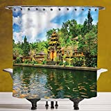 SCOCICI Funky Shower Curtain 3.0 by [Balinese Decor,Tirta Empul Temple Bali Indonesia Exotic Trees Oriental Building Fish Lake Photo,Green Yellow ] Bathroom Accessories with Hooks