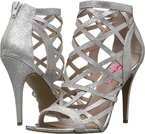 Betsey Johnson Women's Juliette Heeled Sandal, Silver, 7.5 M - Silver Shoes Prom