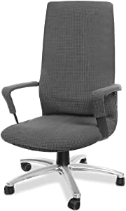 CAVEEN Office Chair Covers - Jacquard Computer Office Chair Cover Stretch Washable Universal Rotating Boss Chair Seat Protector with Armrest Slipcover, Large, Grey