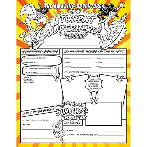 North Star Teacher Resource NST3092 Fill Me In: Student Superhero! Activity Posters, Pack of 32 -