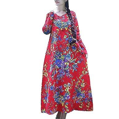cf4d4313b200 Rawdah Plus Size Women's Cotton and Linen Loose Long Sleeve Flower Print  Long Dress: Amazon.co.uk: Clothing