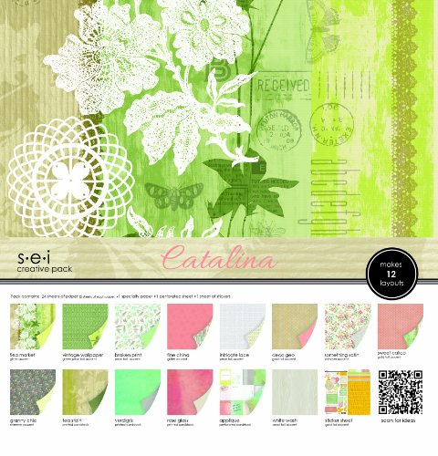 Sew Easy Industries 24-Sheet Paper and Die Cut Assortment Pack, 12 by 12-Inch, Catalina by Sew Easy Industries