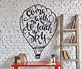parere Vinyl Wall Decal Wall Stickers Art Decor Peel and Stick Mural Removable Decals Motivation Romantic Come With Me To Touch The Sky hot air ballon