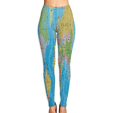 69aeb6fdb25418 Amazon.com: Bei Tang Womens Yoga Pants Cute Colored World Map Slim Fit  Leggings Fitness Trousers: Clothing