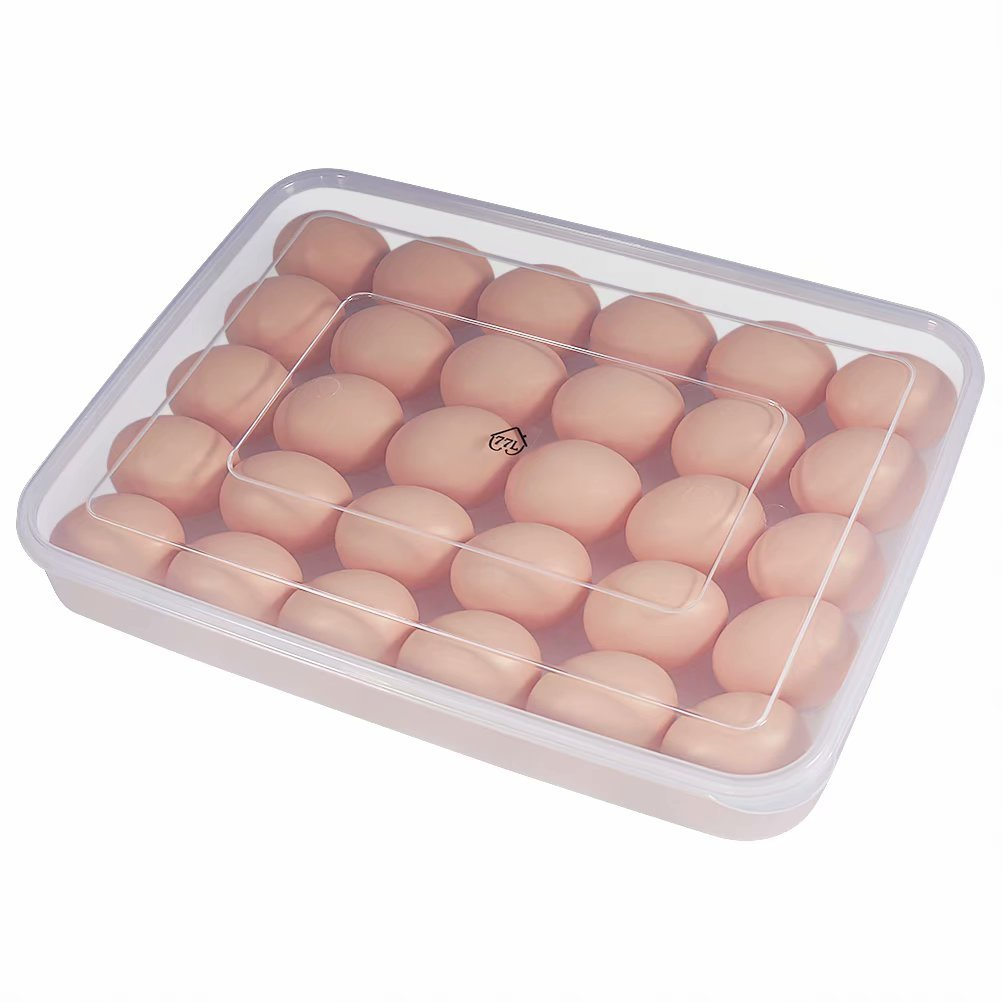 77L Egg Container, 30 Refrigerator Eggs Container with Lid, Plastic Portable Egg Holder Case - Protect and Keep Fresh, Stackable Large Egg Tray (Clear)