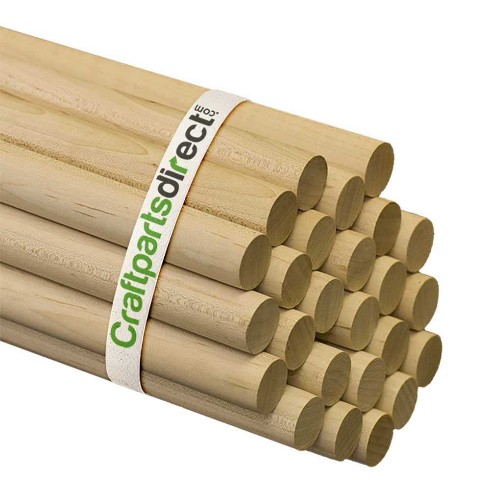 Wooden Dowel Rods - 3/4'' x 36'' Unfinished Hardwood Sticks - For Crafts and DIY'ers - Craftparts Direct - Bag of 100