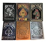 New Bicycle Playing Cards 6 Deck Collector's Bundle - Stargazer, Steampunk, Fire, Warrior Horse, Guardians, Steampunk Sliver
