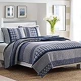 Nautica 210469 Adleson Cotton Pieced Quilt, Full/Queen, Blue/Grey