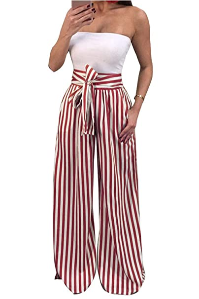 c01615817486 HHGKED Women's Palazzo Striped Pants Casual Wide Leg Pant High Waist Loose  Pants with Tie at Amazon Women's Clothing store: