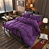 Zhiyuan Button Closure Solid Color Brushed Microfiber Flat Sheet Duvet Cover Pillowcases Set, King, Purple