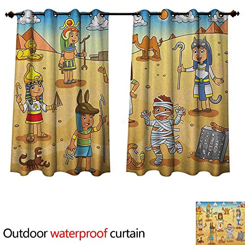 Anshesix Cartoon Home Patio Outdoor Curtain Historical Egypt Characters with Pyramids Cleopatra King Mummy Child Design Image W120 x L72(305cm x 183cm)]()