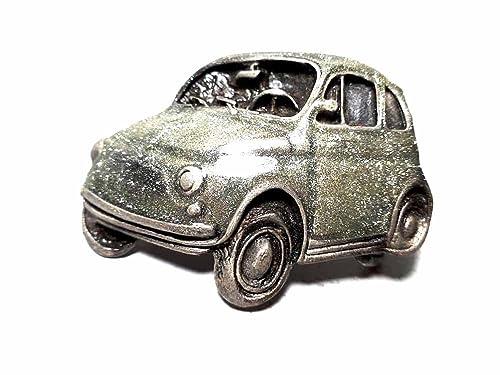Artesanal Hebilla para cinturón 4 cm, Fiat 500 Esmalte Gris ...