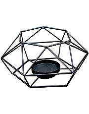 DaoRier Geometrico Candelero Colgante Portavelas Decoracion Grande de La Pared del Jardín Bodas Negro Size 15.5 * 15.5 * 7cm