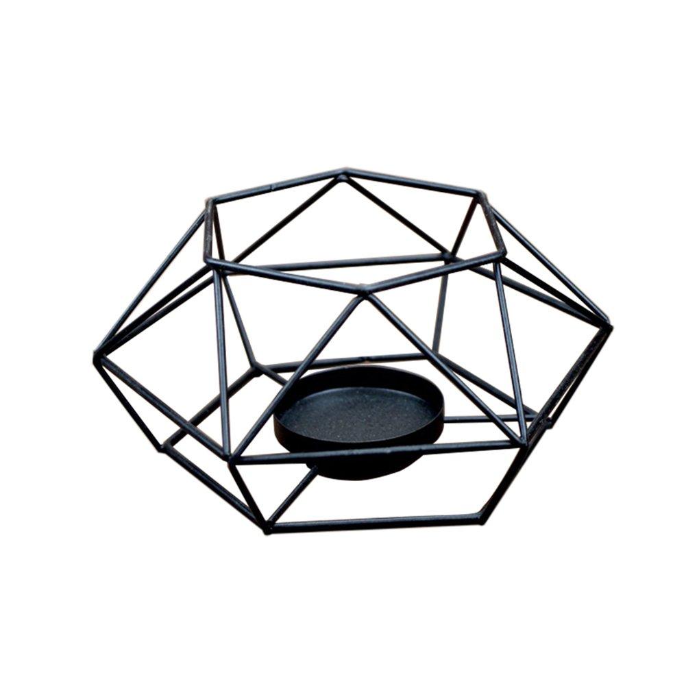 MoGist candeliere stile pieno semplice Geometria Irregolare nido d' uccello tavolo Lanterna candeliere in ferro in home matrimonio decorazioni, Nero B, 15.5 * 15.5 * 7cm