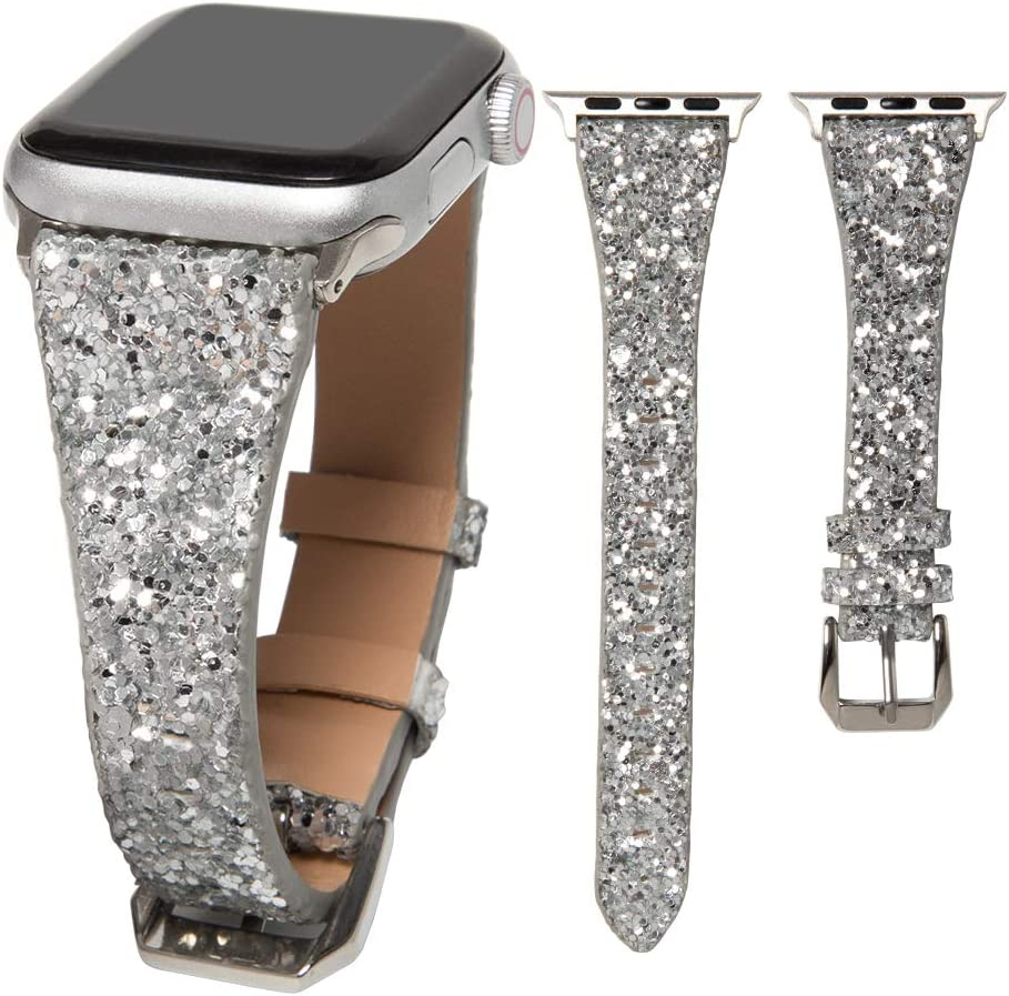 HAYUL Glitter Band Compatible with Apple Watch 38mm 40mm 42mm 44mm, Luxury Shiny Bling Leather Strap Wristband for iWatch Series 6/5/4/3/2/1 SE Women Girls (Silver, 42mm/44mm)
