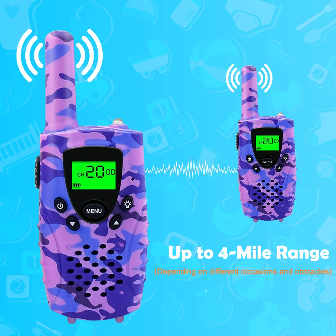 FAYOGOO Kids Walkie Talkies, 22-Channel FRS/GMRS Radio, 4-Mile Range Two Way Radios with Flashlight and LCD Screen, and Toys for 3-12 Year Old Girls, 2 Pack (Camo Purple) by FAYOGOO (Image #4)