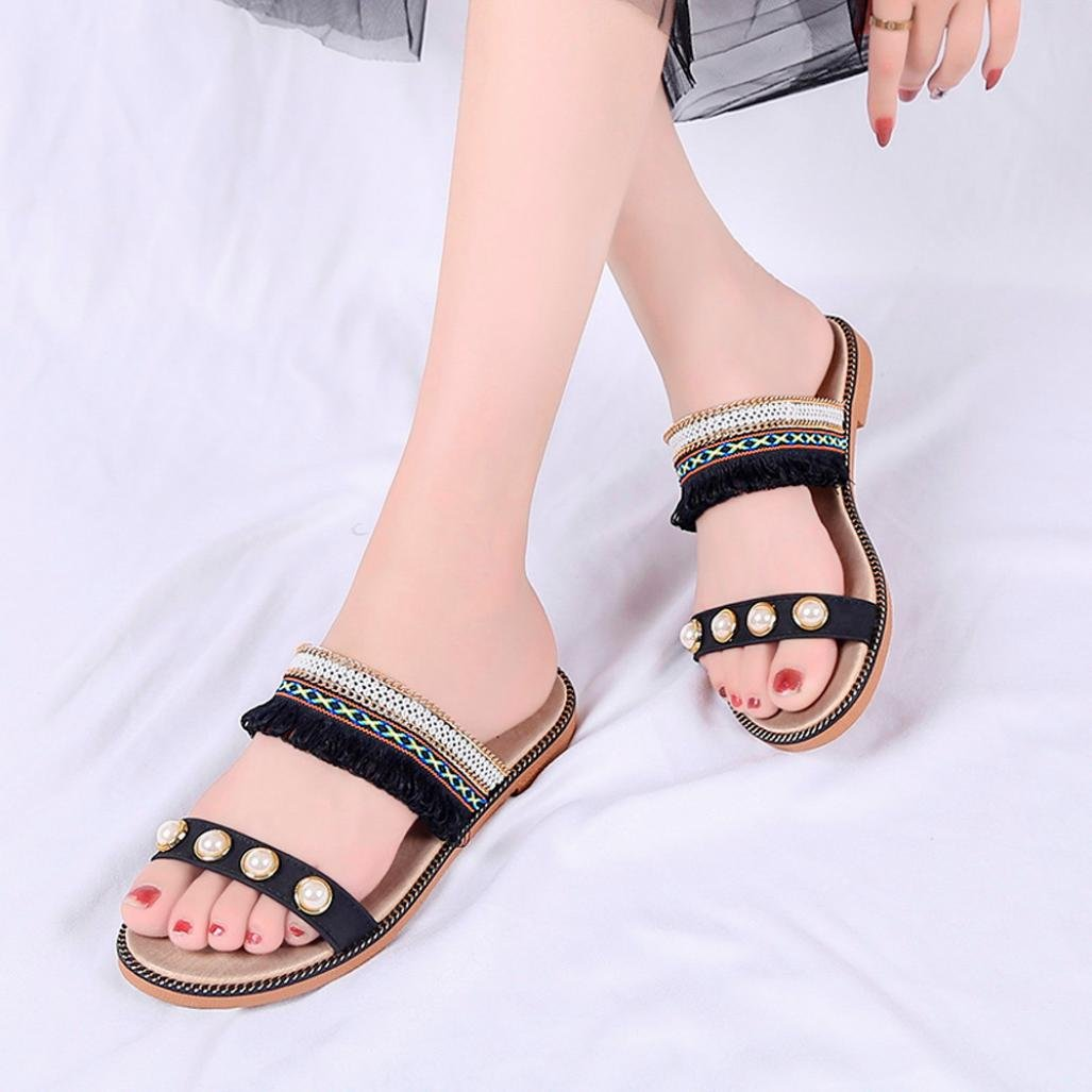 Women Solid Crystal Embellished Dressy National Style Tassels Sandals Slippers Outdoor Sole Beach Shoes