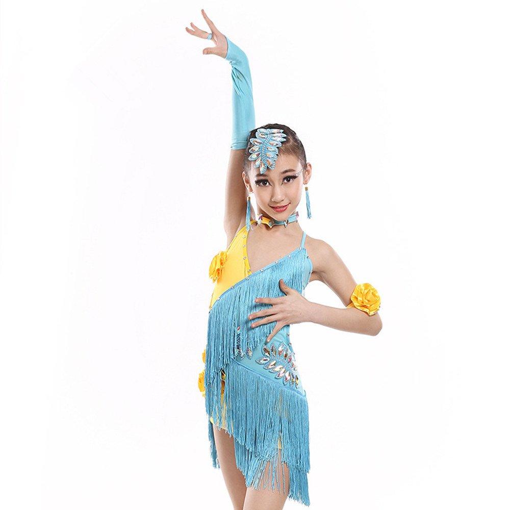 Light bleu DCL Costume de Danse Latine de la Danse de Costumes pour Enfants vêtements Filles Robe frangée 110cm