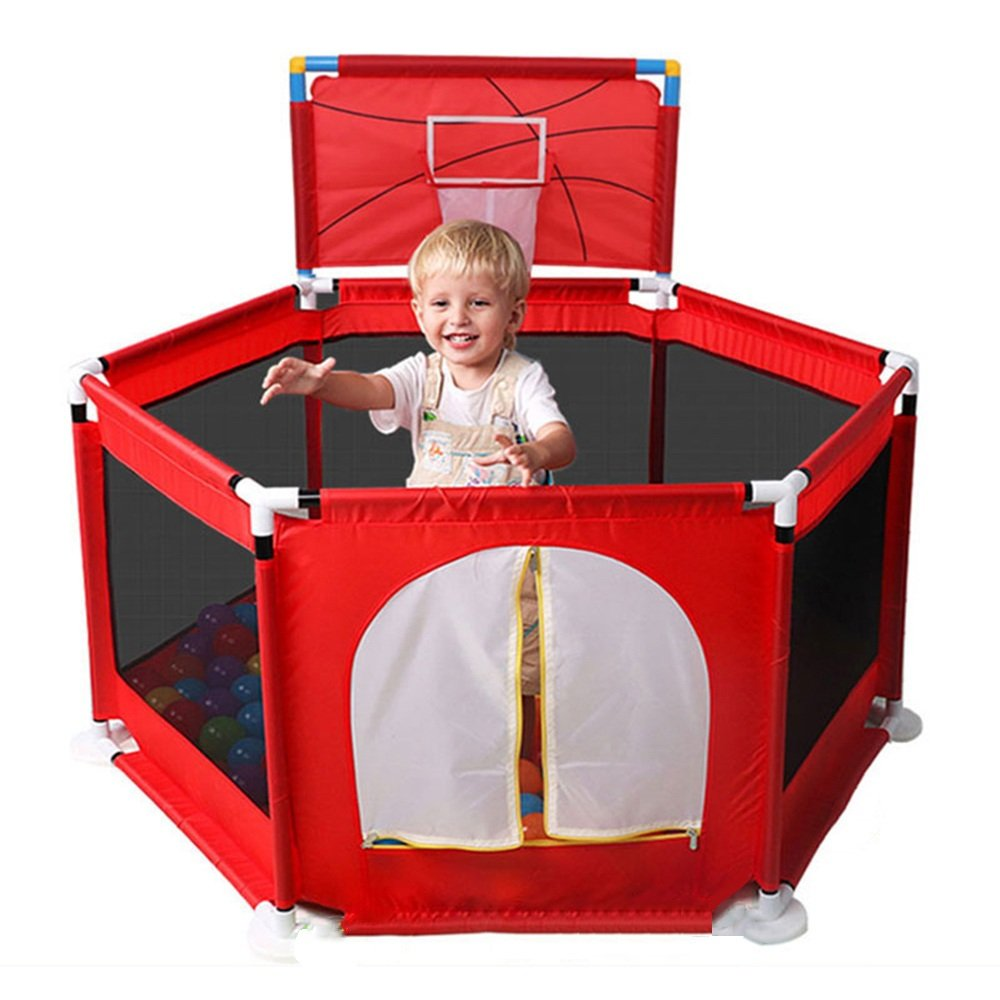 HAIYU ベッドガード- 赤赤ちゃん遊び場6面赤ちゃんゲームフェンス子供安全ガードレールバッフル 組み立てや折りたたみが簡単 (Color : Red)  Red B07TC1K7S4