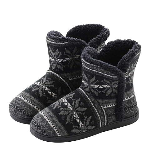 tqgold Pantuflas para Mujer Hombre Zapatillas de Estar por casa con Pompons Pelusa Botas de Invierno: Amazon.es: Zapatos y complementos