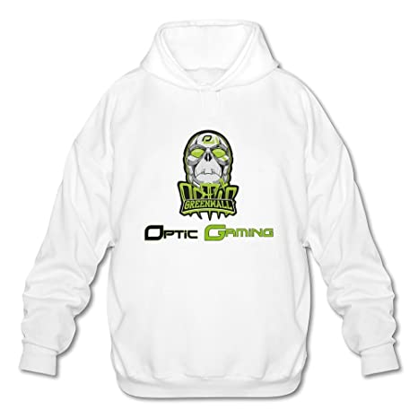 Men's MLG Optic Gaming Logo Greenwall Skull Hoodies XXL White