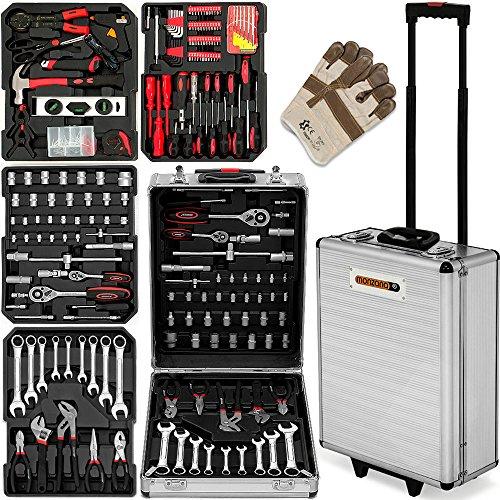 629-tlg. Werkzeugkoffer Alu-Rollkoffer inkl. hochwertige Arbeitshandschuhe