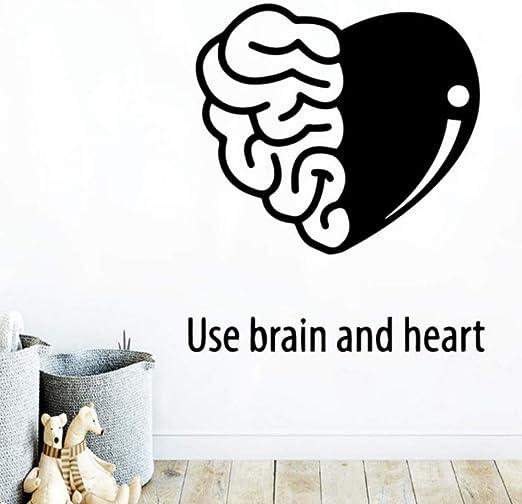 Cerebro moderno y corazón etiqueta de la pared decoración de la ...