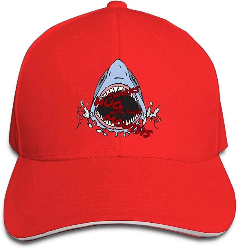 Unisex Cool Sharks Hug Art Sandwich Peaked Cap Adjustable Cotton Baseball Caps
