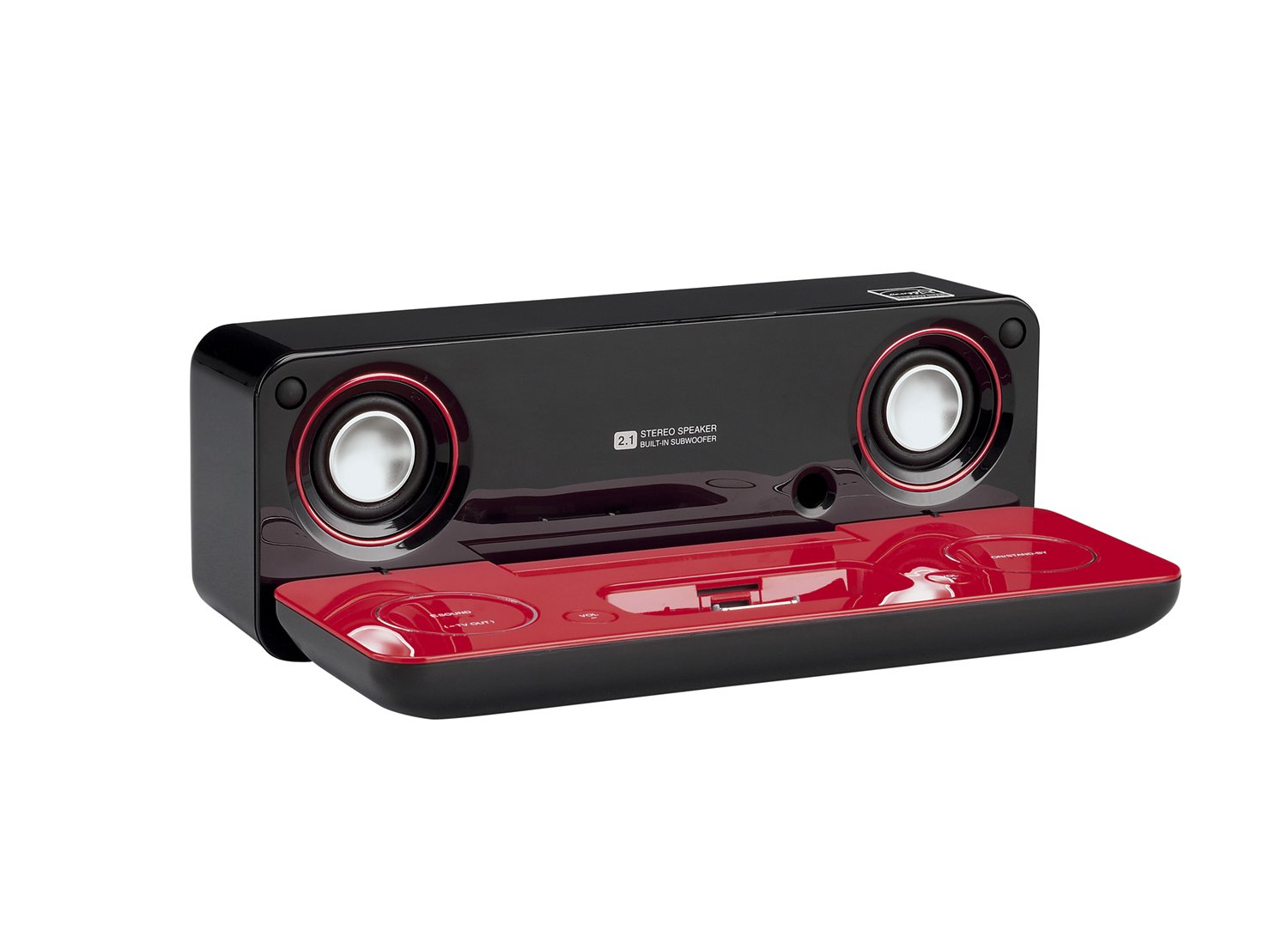 Sharp i-Elegance Music System for iPod and MP3 Players (High Gloss Red/Black) by Sharp (Image #1)