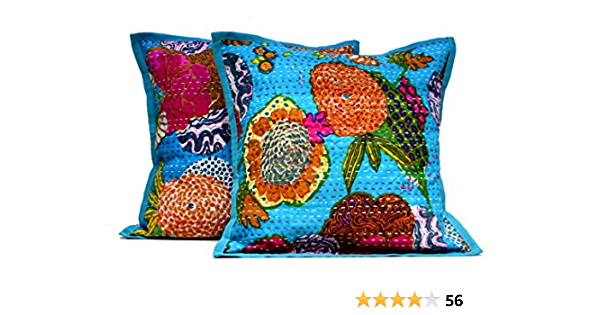 Decorative Cushions Indian Block Print Cotton Cushion Covers Christmas Gift, Housewarming gift Floral Pillow Vintage Style Set of 2