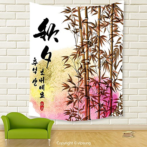 Vipsung House Decor Tapestry_Bamboo House Decor Collection Bamboo Painting With Japanese Words In Mid Autumn Festival Giving Day Harvest Artsy Work _Wall Hanging For Bedroom Living Room (Halloween Harvest Festival United States)