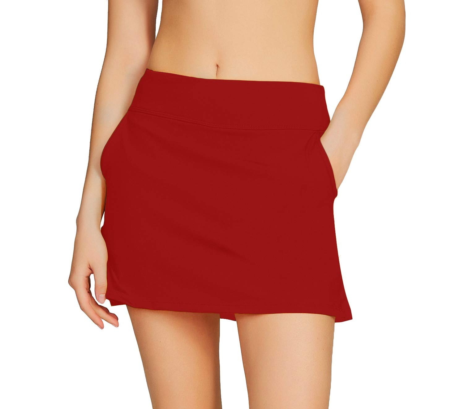 Cityoung Women's Golf Pleated Flat Skort with Pockets L,Valiant Poppy