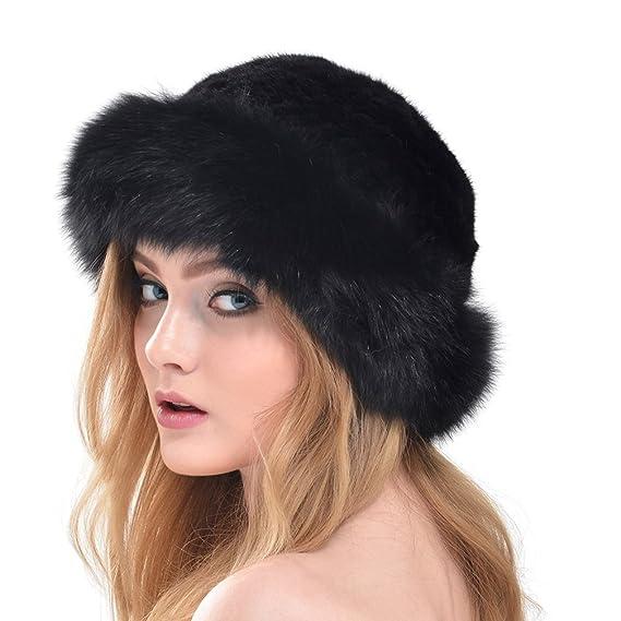 OLLEBOBO Vera Pelliccia Visone Cappello Berretto Donna con Visiera Nuovo  nero  Amazon.it  Abbigliamento 9e2bff475a92
