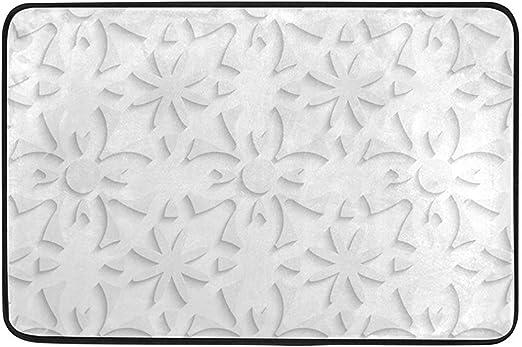 sodnz Alfombrilla Flores Blancas Alfombra de Vida Abstracta Alfombra Antideslizante Pasillo Interior/Exterior Jardín Comedor Alfombra de Puerta Alfombras de Entrada Cocina Baño 40X60cm: Amazon.es: Hogar