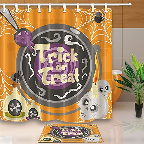 HiSoho Witch cCooking Magical Potion and Spell for The Halloween 71X71in Resistant Polyester Fabric Shower Curtain Suit with 15.7x23.6in Flannel Non-Slip Floor Doormat Bath -