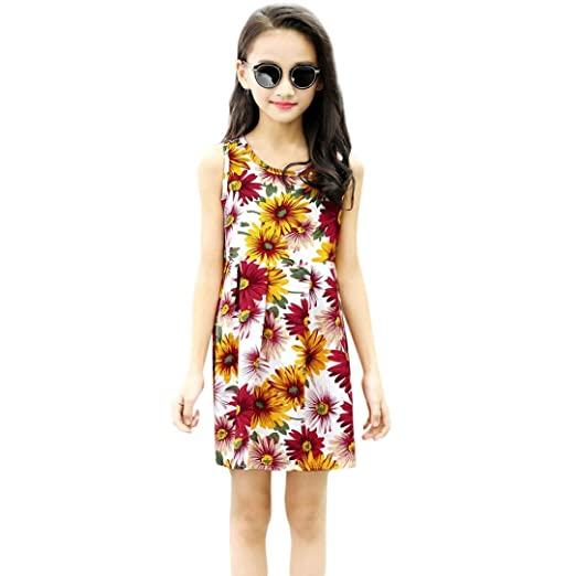 ShiTou Clothes- Toddler Kid Sleeveless Floral Printing Party Dress Outfits (Multicolor, 100)