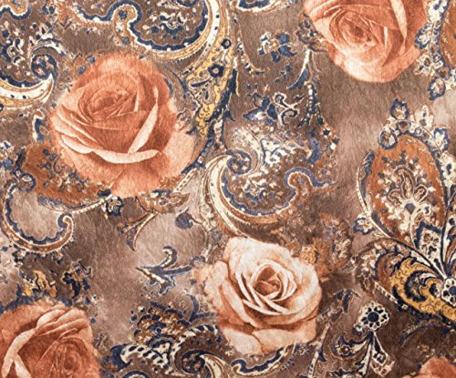 "Floral Royal Rose Brown Printed Panne Fabric 2 Way Stretch Velvet Medium Weight Soft Polyester 58"" Width - 1 Yard"