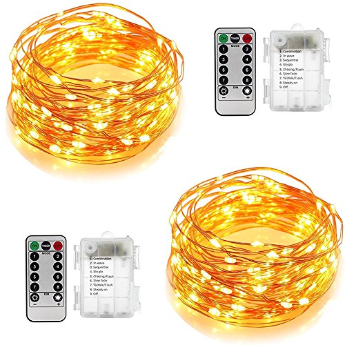 Digital Base 2 pack Fairy Lights,16.4ft 8 Modes 50 LED Battery Operated String Lights,Waterproof Remote Control Christmas Decorative Lights for Outdoor,Bedroom,Wedding,Homes,Party,Halloween,Warm White ()