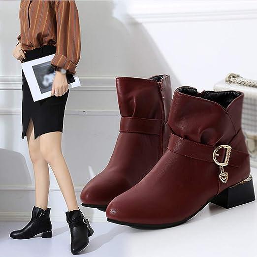 ❤ Botas para Mujeres, Hebilla Cuadrada Hebilla de Cuero de Las Mujeres Cremallera de Cuero Boots Zapatos Botín Absolute: Amazon.es: Ropa y accesorios