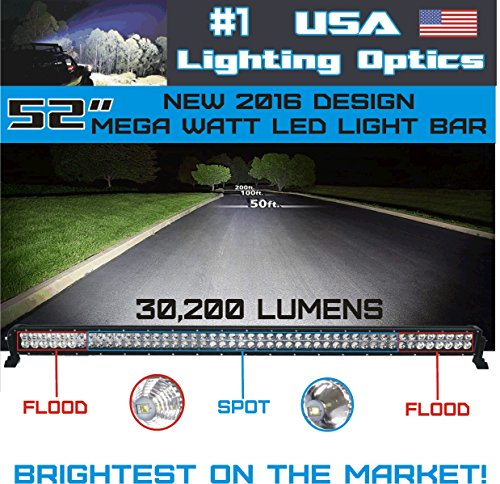 Amazon new 2016 52 inch 300w mega led light bar by usa lighting amazon new 2016 52 inch 300w mega led light bar by usa lighting optics tm spot flood combo beam lumens 30200lm made for extreme offroad trucks 4x4 aloadofball Image collections