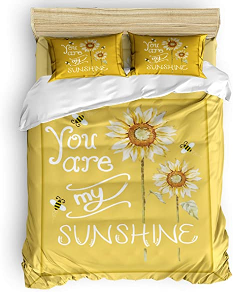 Big Buy Store You Are My Sunshine 4 Piece Duvet Cover Set Sunflower Bee Bed Sheets Quilt Cover For Kids Adults Bedroom Decoration Queen Size Home Kitchen