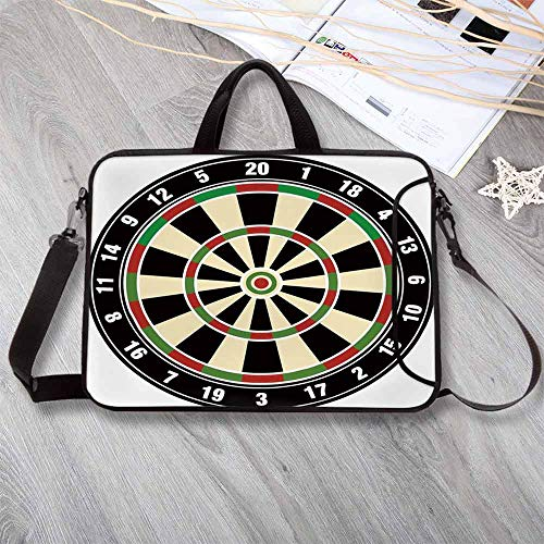 """Sports Waterproof Neoprene Laptop Bag,Dart Board Numbers Sports Accuracy Precision Target Leisure Time Graphic Laptop Bag for Business Casual or School,14.6""""L x 10.6""""W x 0.8""""H ()"""