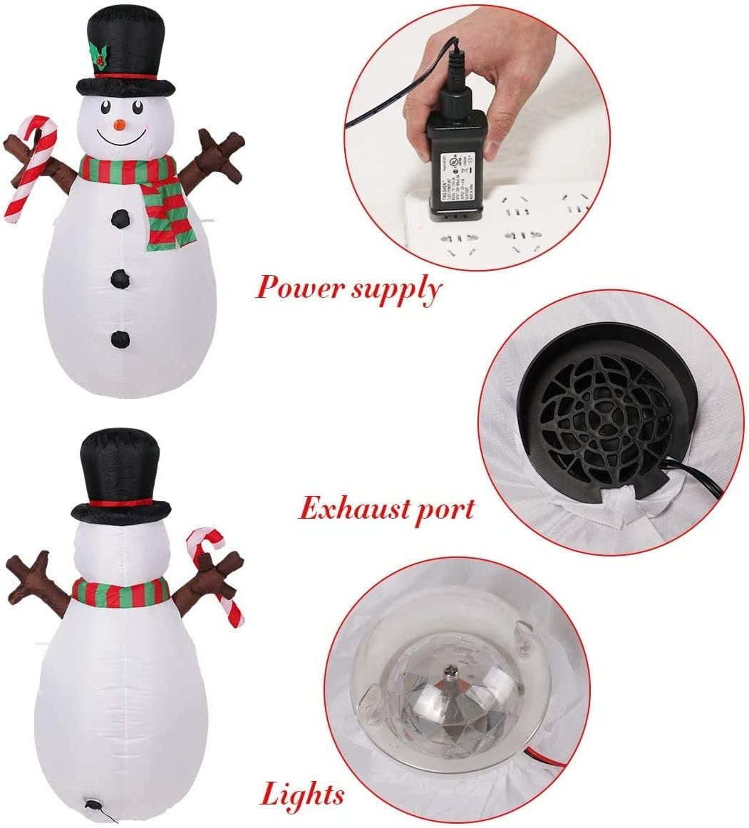 5 Ft Tall Inflatable Snowman Christmas Inflatable Snowman Built-in LED for Outdoor Yard Decoration,Lawn Lighted for Holiday Season Quick Air Inflated