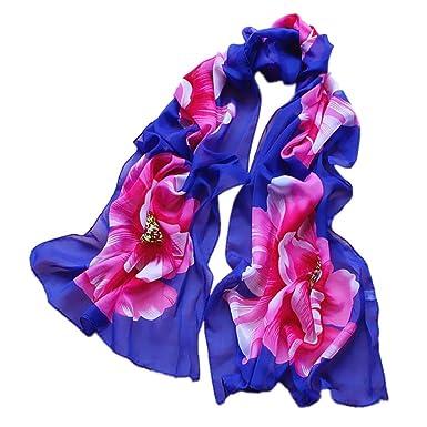 c251aef395ad Echarpes et foulards Amlaiworld Femmes Soie douce en mousseline Chèche  Écharpes imprimées par fleur Wrap Châle