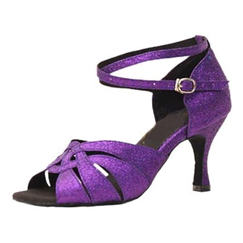 8f352f8d GUOSHIJITUAN [Mujer s Lentejuelas Zapatos de Baile Latino,Cabeza Redonda [Fondo  Blando]