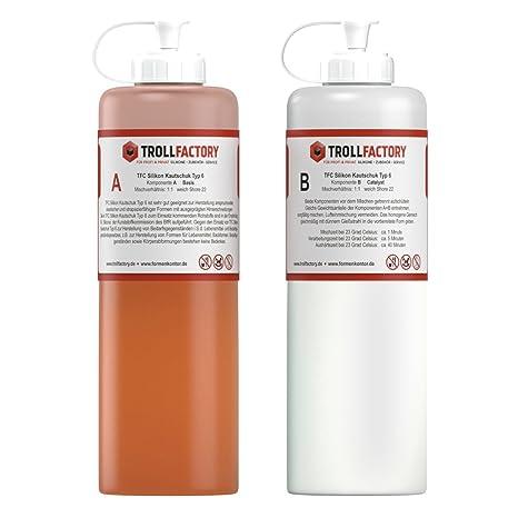 TFC Silikon Kautschuk Typ 6 I Dubliersilikon lebensmittelecht I weich, 500 g (2 x 250 g)