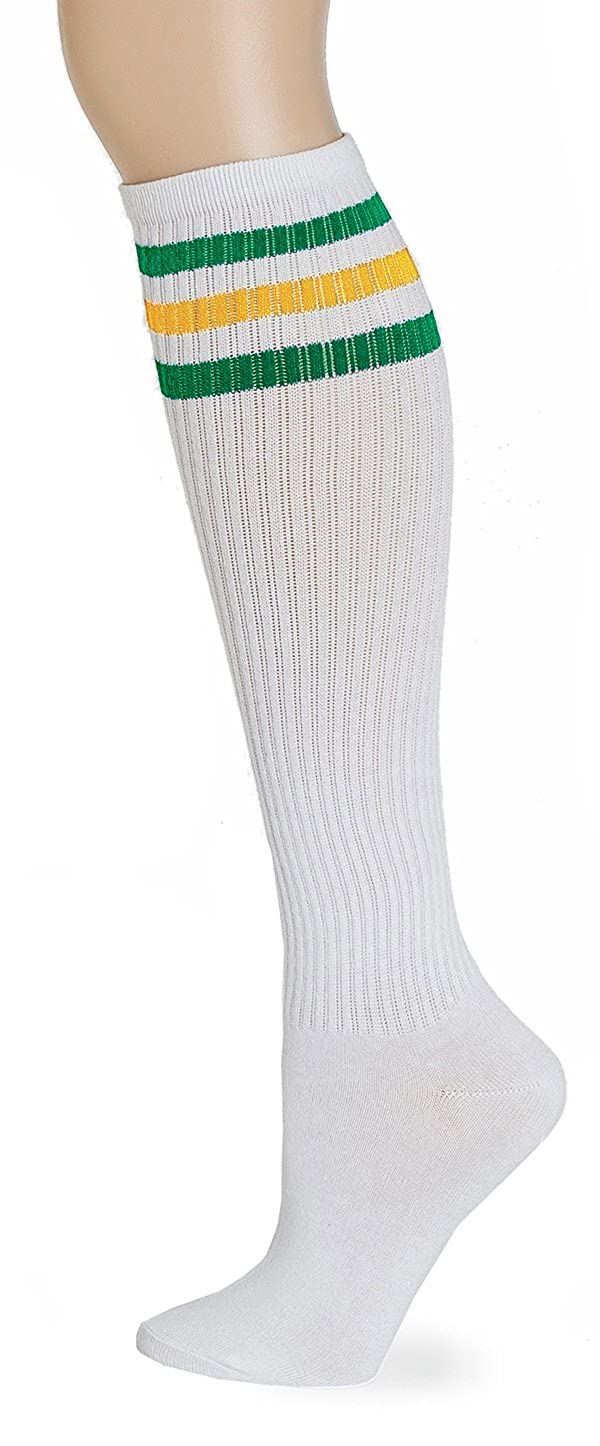 bd24763d7 Amazon.com  Leotruny Classic Triple Stripes Knee High Tube Socks (White Red)   Clothing