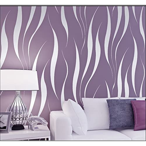 HANMERO Modern Extra Thick Non Woven Water Plant Pattern 3D Flocking  Embossed Wallpaper Roll
