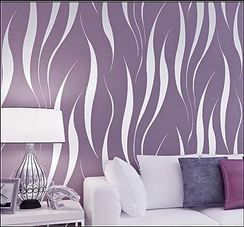 HANMERO Papier Peint Moderne Intissé Motif avec Rayures 3D Flocage pour  Chambre Salon Bureau, Violet-10m*0.53m
